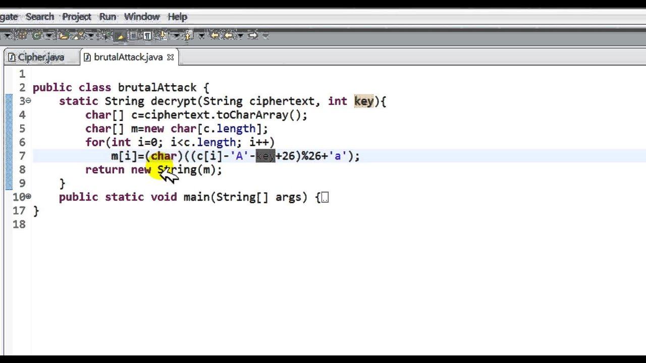brute force c++ code sample