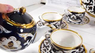 Сервиз чайный ЂЂЂ 6 Чайник 1 литр  чайные пары 6 шт  ляган 28 см.