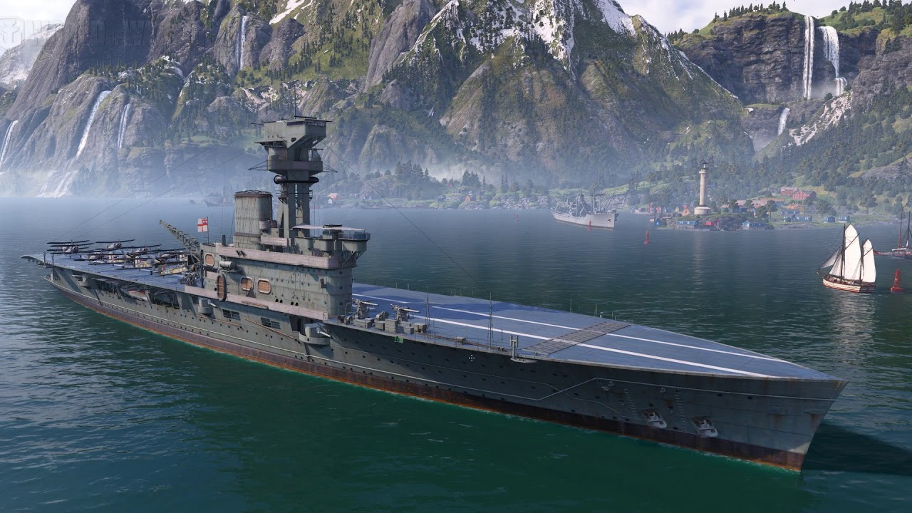 World Of Warships gameplay: British Aircraft Carrier - YouTube