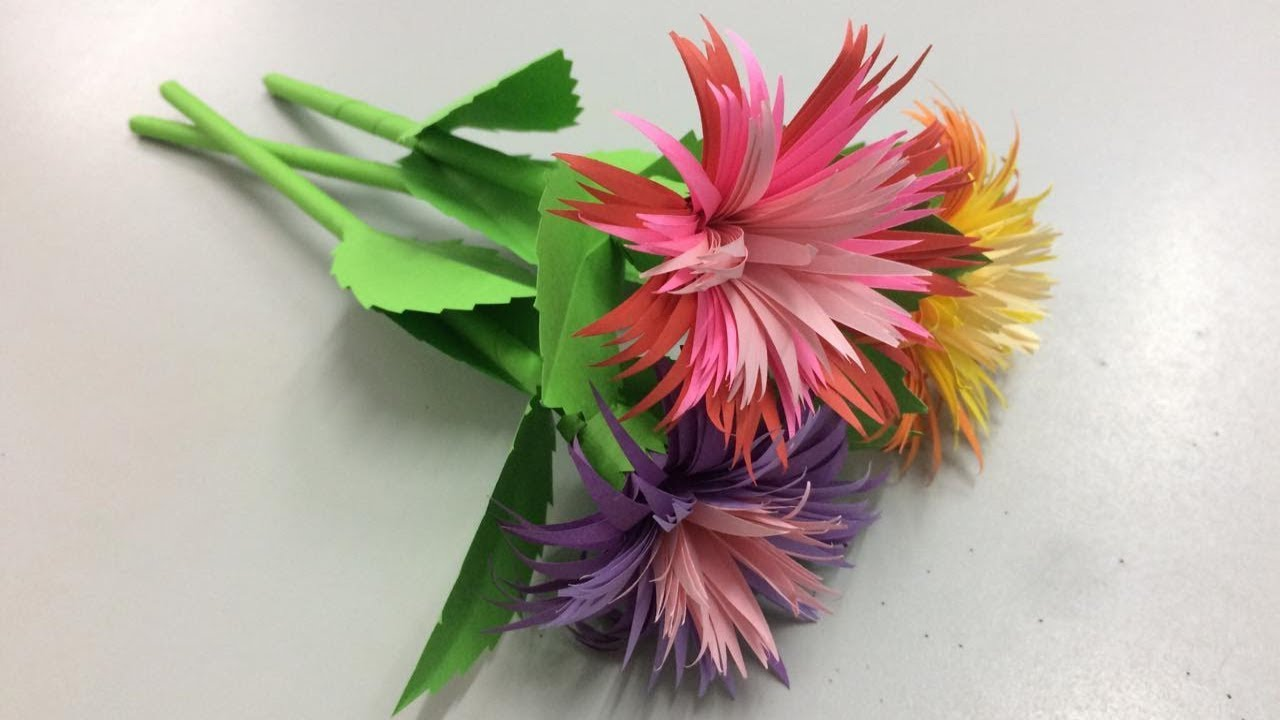 how to make flower from paper step by step