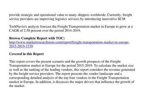 Freight Transportation Market
