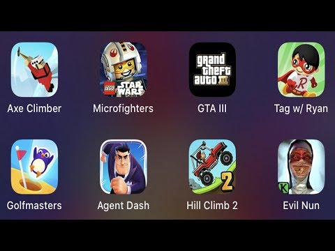 Axe Climber,LEGO Microfighters,GTA 3,Tag With Ryan,Golfmasters,Agent Dash,Hill Climb 2,Evil Nun