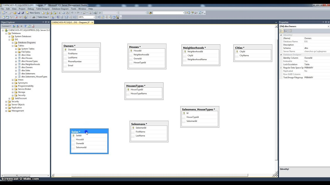 Creating DB diagram using SQL Server 2012 - YouTube