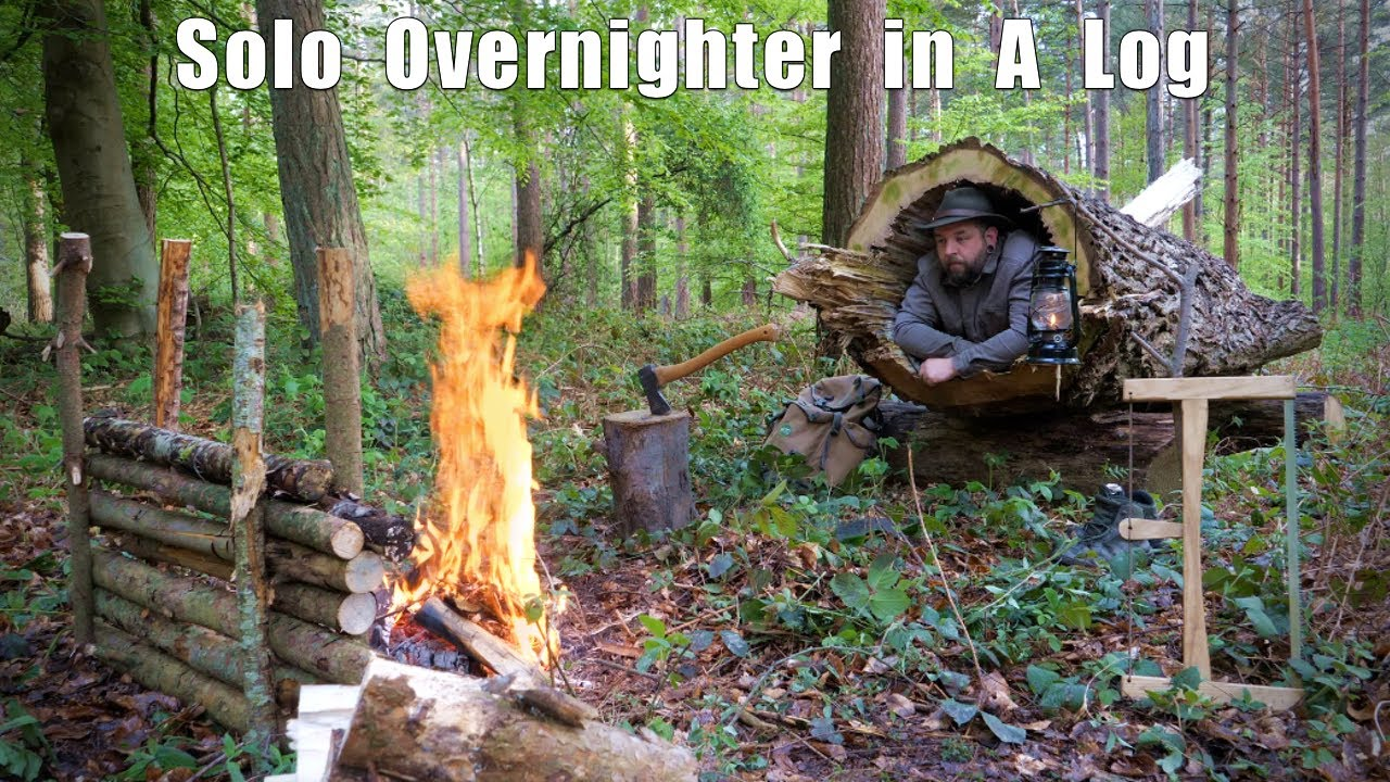 Solo Overnighter in a Hollow Log - felling a tree for fire wood, spit roast beef