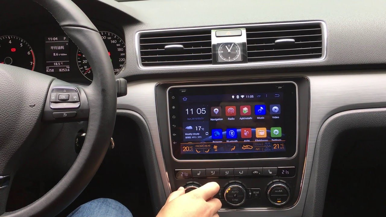Climate AC and open doors information On Joying Android car stereo head  unit for VW passat 2015-16