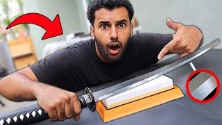I Sharpened a $20 KATANA Sword On A $500 Japanese WHETSTONE!! *SHARPER THAN A RAZOR*
