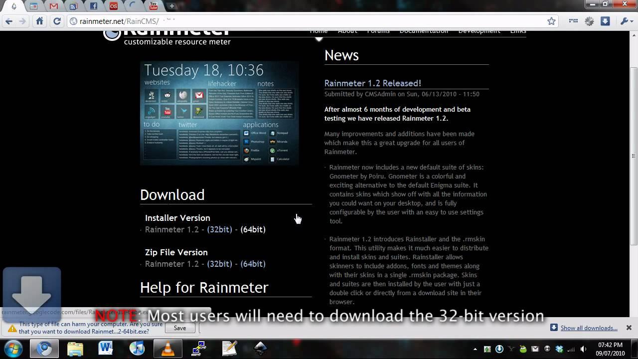Rainmeter Install on Windows 7