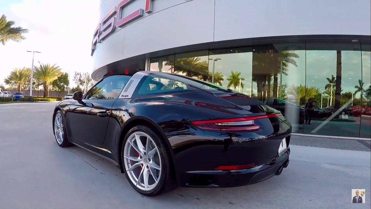 2017 jet black porsche 911 targa 4 gts 450 hp porsche west broward youtube. Black Bedroom Furniture Sets. Home Design Ideas