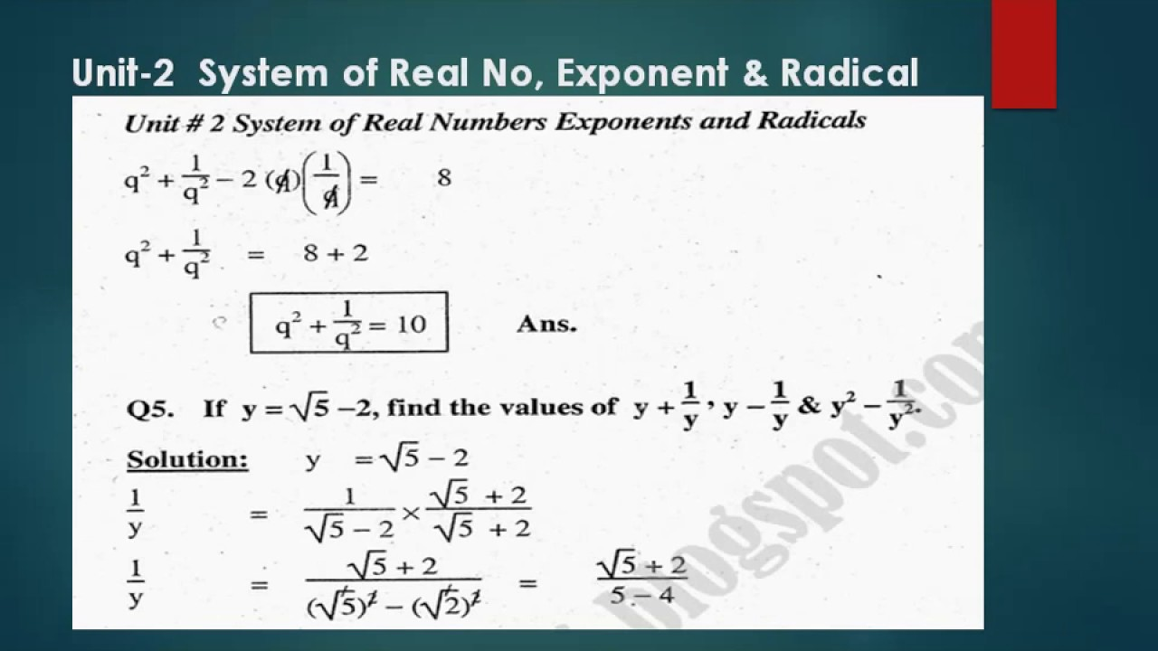 Exercise 2 8 Matric Math Complete Question with Solution