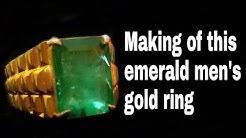 "Handmade ""EMERALD""5 carat men's gold ring"
