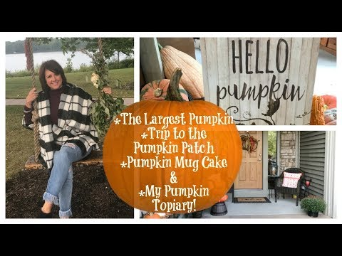 Karen's Vlog: The 1521lb Pumpkin, Trip to the Pumpkin Patch, Pumpkin Mug Cake & My Pumpkin Topiary!