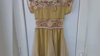 Золотое платье (итог) ирландское кружево комбинированное вязание платье для девочки крючком