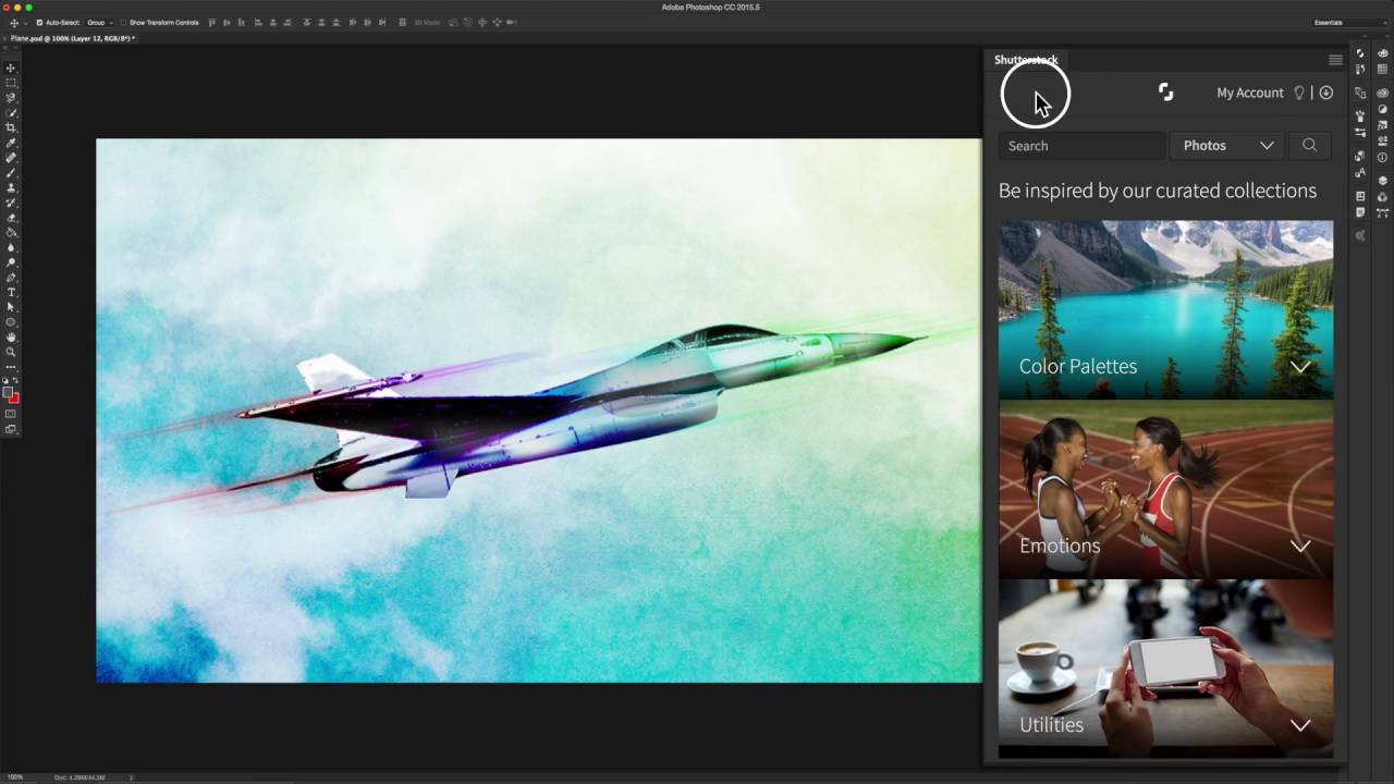 Shutterstock plugin for the adobe photoshop application