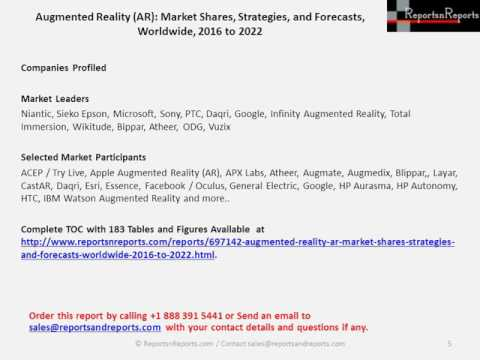 Augmented Reality (AR) Market Forecast to $80.8 billion by 2022