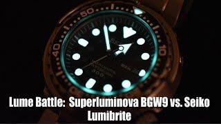 Lume Battle: Superluminova BGW9 vs. Seiko Lumibrite!