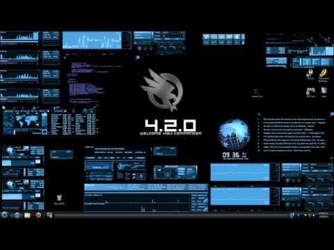 Rainmeter / BlueVision V0.2 Customized Desktop ( Hacker CMD Skin )
