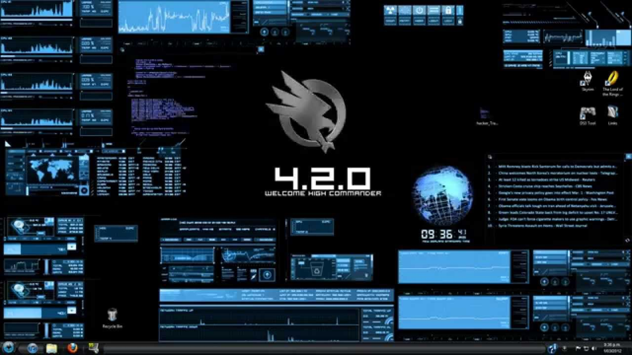 3d Live Wallpapers For Windows 7 Free Download Rainmeter Bluevision V0 2 Customized Desktop Hacker