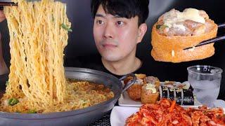 ASMR MUKBANG 진라면 4봉과 유부초밥, 김밥 …