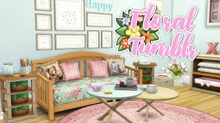 FLORAL & TUMBLR LIVING ROOM🌸🌼 // THE SIMS 4   CC ROOM BUILD