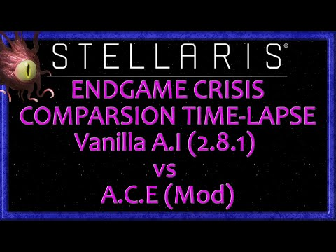 Stellaris: Vanilla A.I vs Aggressive Crisis Engine[MOD] Endgame Crisis Comparison Time-lapse (2.8.1) |
