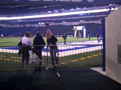 Coming out of the Colts tunnel onto the field at Lucas Oil Stadium