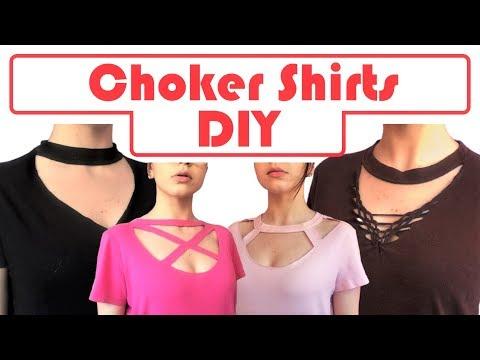 DIY Choker Shirts! 4 T-shirt Cutting Tutorials   No Sewing