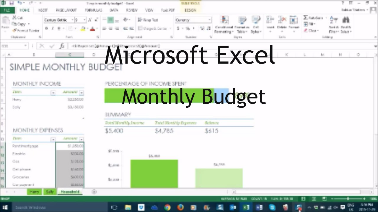 how to create a monthly budget on excel