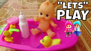 Mainan Anak Bayi Boneka Lucu Mandi Baby Toy Baby Doll BathTime with Duck ❤ Baby Drinking Milk Bottle