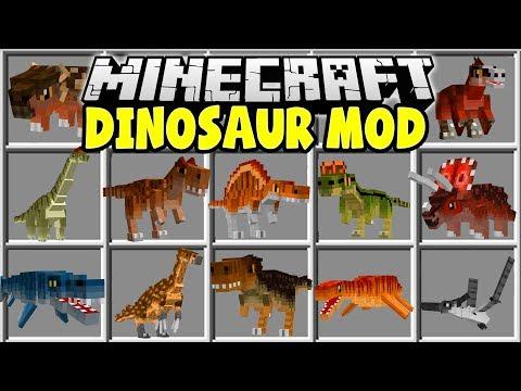 Minecraft DINOSAUR MOD   TRICERATOPS, TREX, STEGOSAURUS, VELOCIRAPTORS & MORE!!