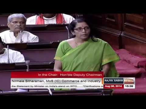Smt. Nirmala Sitharaman's reply to the clarifications on India's stand in the WTO
