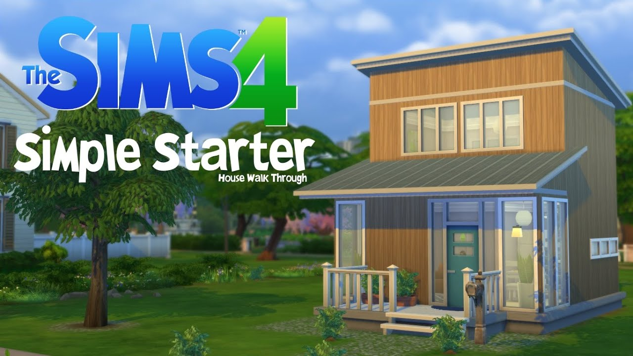 Sims 4 simple starter house walk through youtube for Minimalist house sims 2