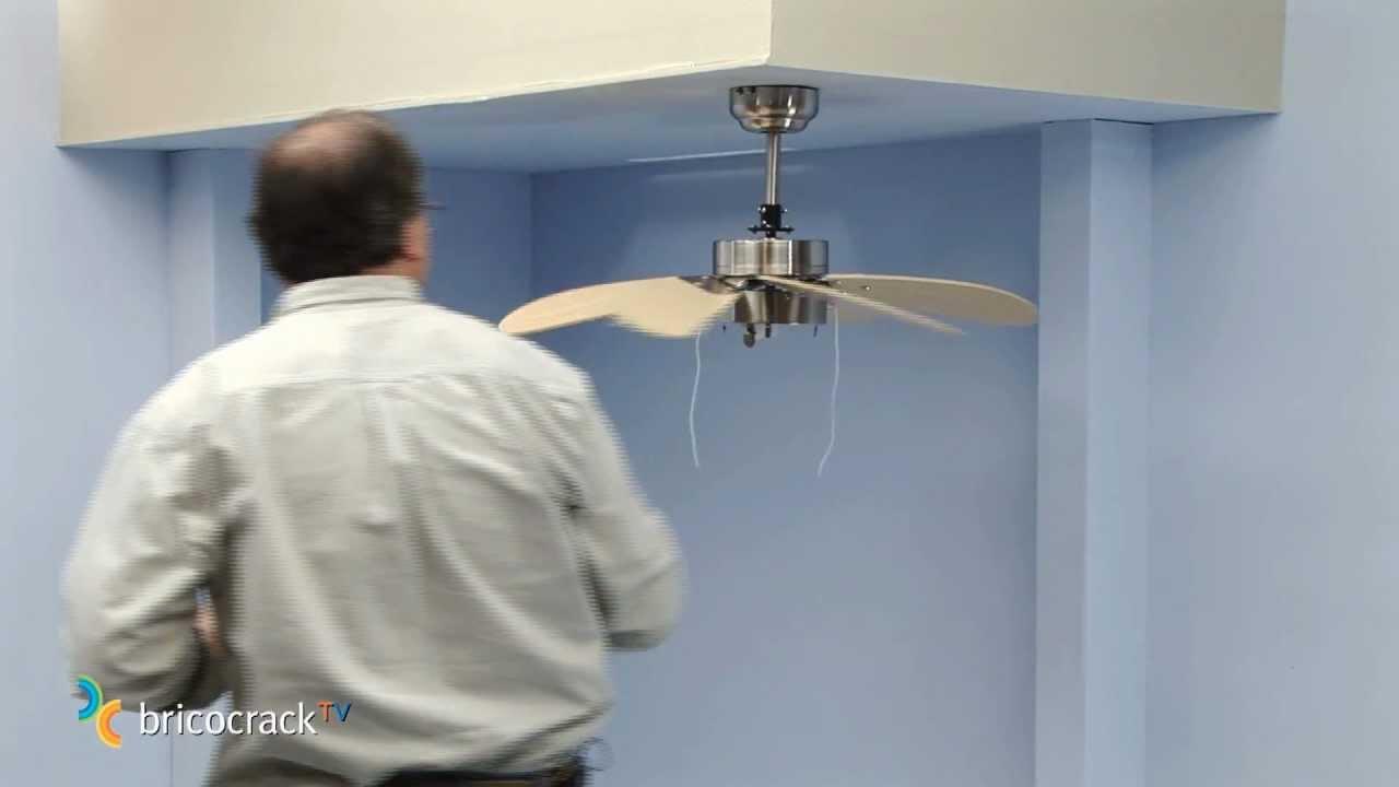Instalar un ventilador de techo bricocrack youtube for Como encielar un techo