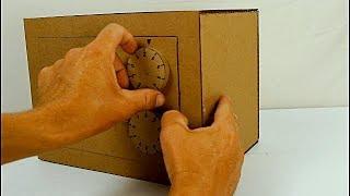 como hacer una caja fuerte de cartón con clave (cardboard security box)