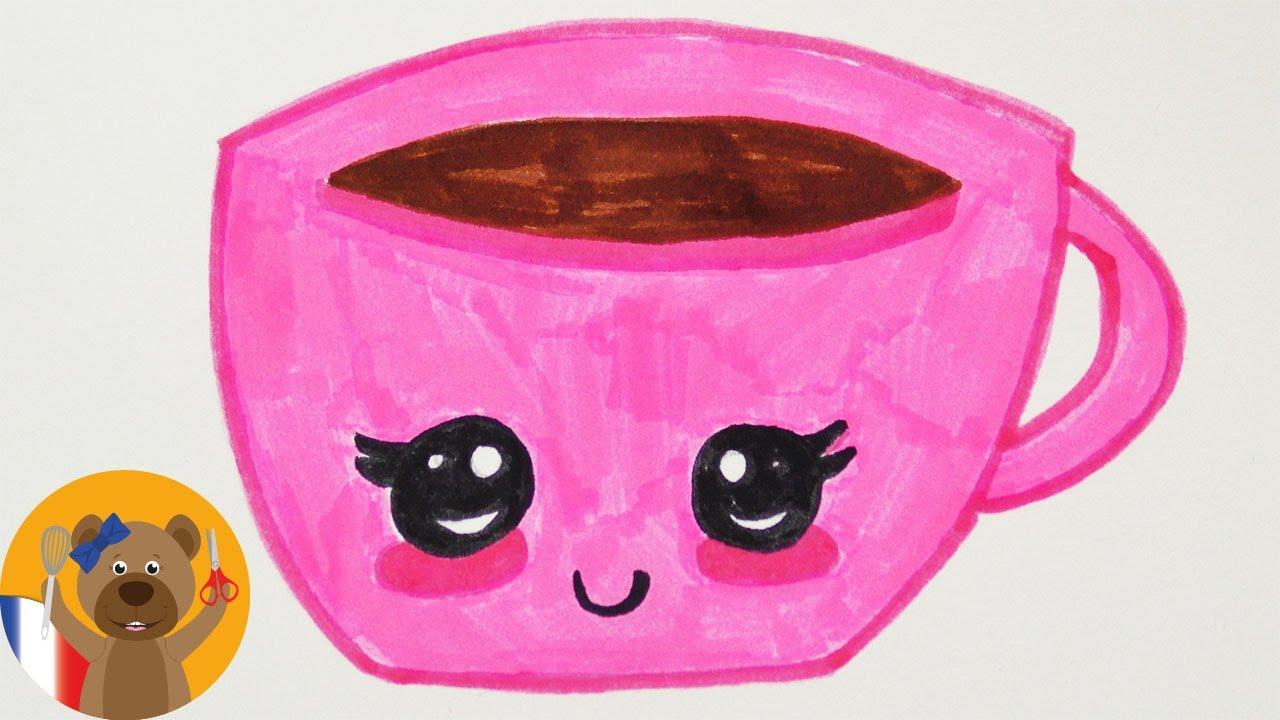 Dessiner une tasse KAWAII  Ide de dessin DIY pour des