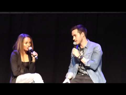 Chris Wood & Kat Graham at Bloodynightcon Brussels  may 2015 doing imitations