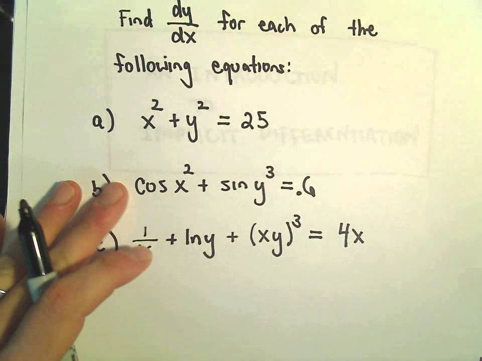 Implicit Differentiation For Calculus More Examples 1 Youtube