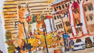 Sketching the Giant Dogs in Chinatown
