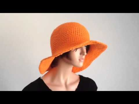 0554b1eb03d Summer Project 1  Crochet Wide Brimmed Orange Cotton Hat - YouTube