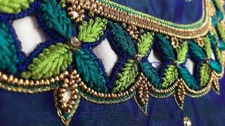 Aari work in normal needle stitch/maggam work/work on stitched blouse/aari work