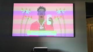 Watching tv on 100 inch screen with xiaomi projector tv, jaden smith, 21 Savage, the jump espn