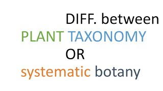 plant taxonomy and systematics botany differences explained in hindi.