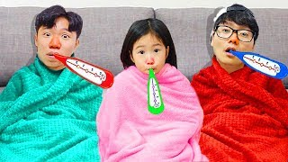 Boram prend soin de DDochi et conan qui a un rhume.