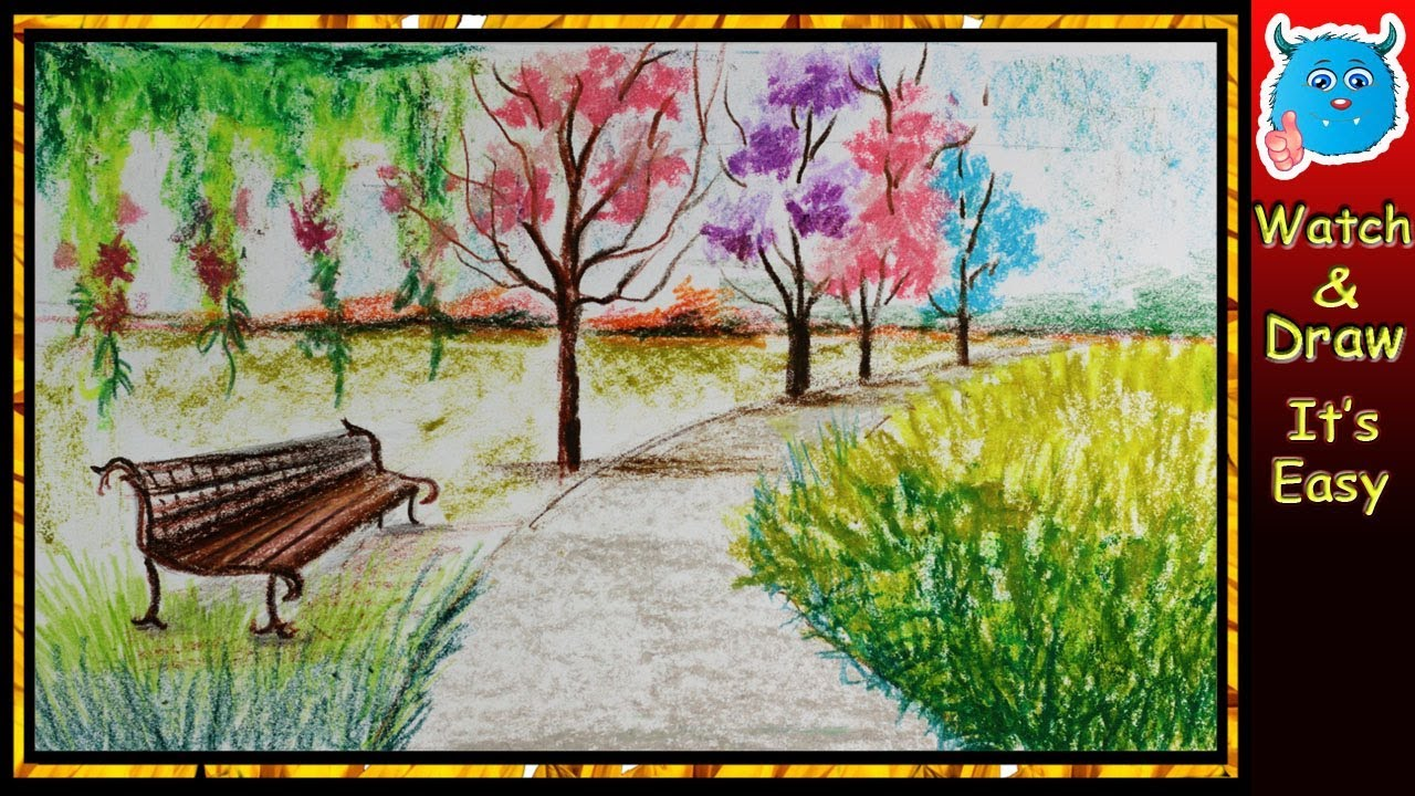 how to draw scenery of spring season park landscape easy drawing