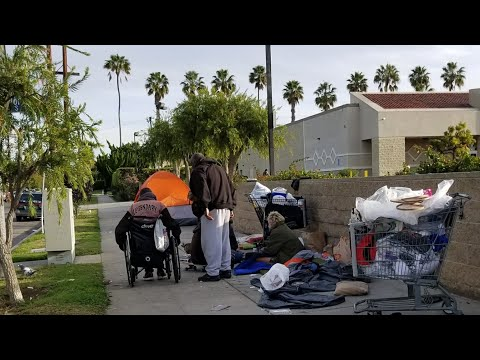Homeless On The Sidewalk In Santa Monica California