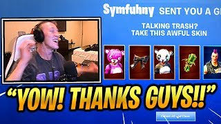 TFUE Gets *GIFTED* A Lot Of SKINS by STREAMERS!! - Fortnite Epic & Funny Moments