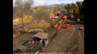 9/19/2018 Fourteen car, double headed train 216 departs Chama, NM