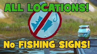 Все знаки рыбалка запрещена фортнайт Камэо и Эстрада / Where to Find Fortnite No Fishing Signs