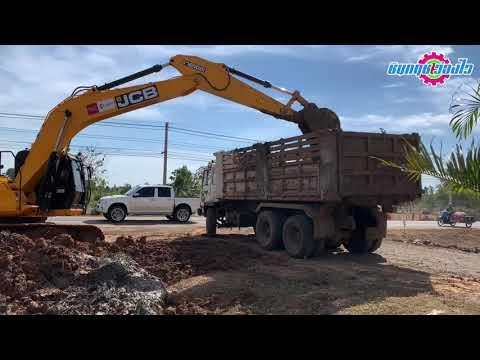รถขุด JCB JS205SC ตักดินใส่รถบรรทุกสิบล้อ Trucks | ชินกฤช ว่องไว