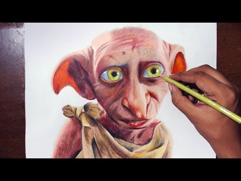 Drawing Dobby From Harry Potter Movies - Prismacolor Pencils.