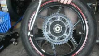howto replace motorcycle chain and sprockets in 10 mins 09 ninja 250